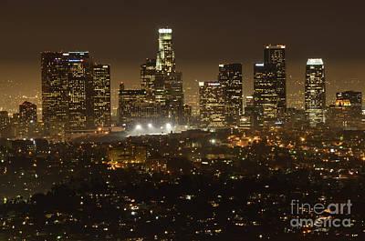 Los Angeles Skyline At Night Art Print by Bob Christopher