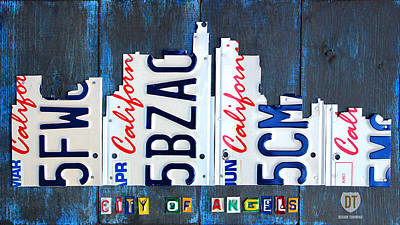 Los Angeles Mixed Media - Los Angeles Skyline License Plate Art by Design Turnpike