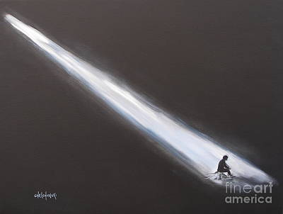 Light Shaft Painting - Lost In Deep Thoughts by Miroslaw  Chelchowski