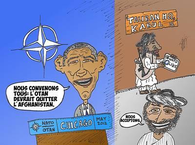 Obama Mixed Media - L'otan Est D'accord Avec Les Talibans Caricature by OptionsClick BlogArt
