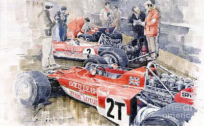 Motor Racing Painting - Lotus 49 B Lotus 72  by Yuriy  Shevchuk