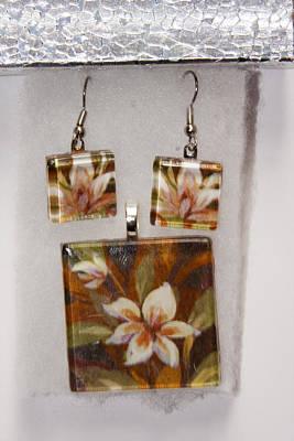 Lotus Flower Pendant And Earring Set Art Print by Darleen Stry