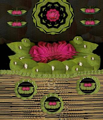 Abstract Seascape Mixed Media - Lotus Flowers In The Lotus Sea by Pepita Selles