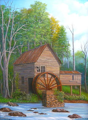 Gristmill Painting - Loudermilk Grist Mill In Georgia by Vivian Eagleson
