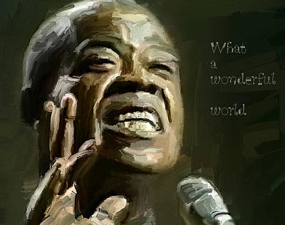 Crowd Scene Digital Art - Louis Armstrong Wonderful World by Yury Malkov