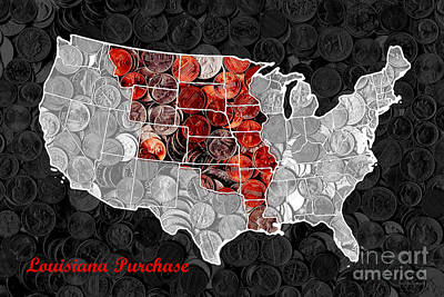 Long Sizes Photograph - Louisiana Purchase Coin Map . V1 by Wingsdomain Art and Photography