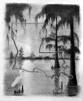 Cypress Swamp Drawing - Louisiana Sunrise In The Atchafalaya Basin by Ron Landry