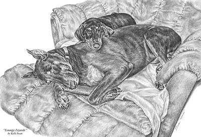 Pinscher Drawing - Lounge Lizards - Doberman Pinscher Dog Art Print by Kelli Swan