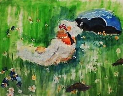 Painting - Lounging On The Grass By Monet by Anna Lewis
