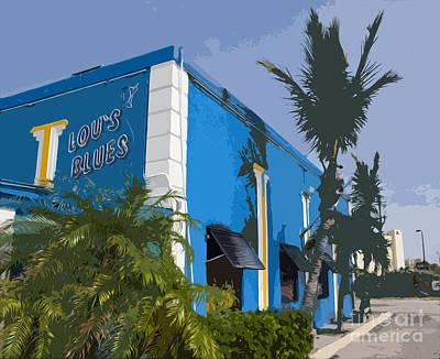 Typography Tees - Lous Blues Oceanside Upstairs in Florida by Allan  Hughes