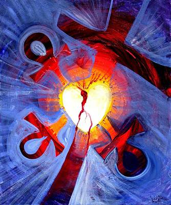 Ankh Painting - Love - In Three ... For All by J Vincent Scarpace
