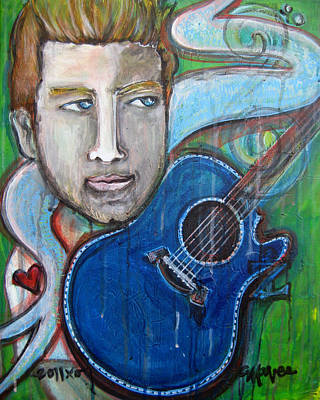 Painting - Love For Blue Guitar by Laurie Maves ART