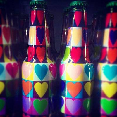 Beer Wall Art - Photograph - #love In #bottle #heart #popart by Stan Chashchnikov