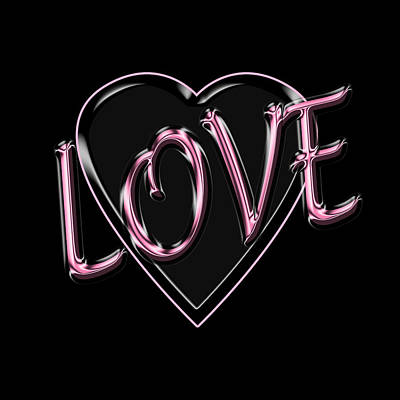 Digital Art - Love In Pink And Black by Andrew Fare