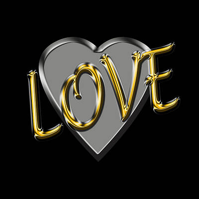 Digital Art - Love In Silver And Gold  by Andrew Fare
