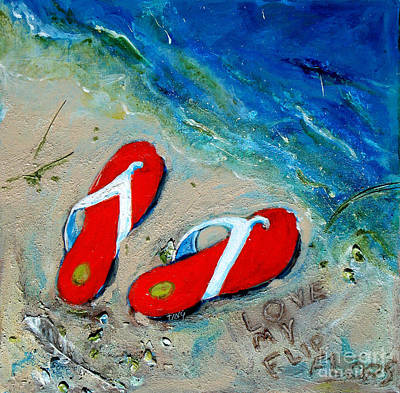 Love My Flipflops Art Print by Doris Blessington