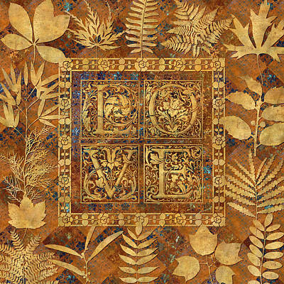 Patchwork Quilts Digital Art - Love Ornamental Caps With Leaves by Susan Ragsdale