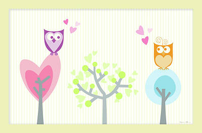 Love Owls Art Print by Nomi Elboim