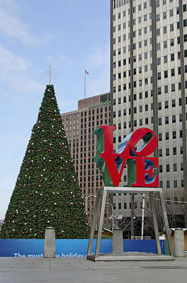 Love Park Philadelphia - Winter Art Print by Brendan Reals