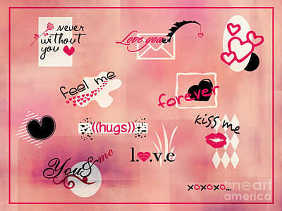 Digital Art - Love Words - Valentine's Card by Aimelle