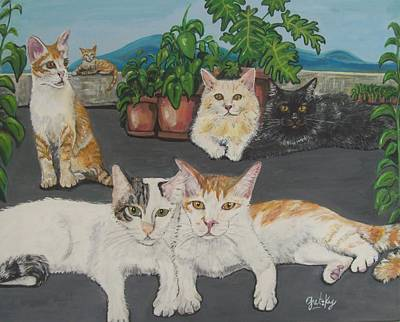 Lovely Cats Art Print by Paintings by Gretzky