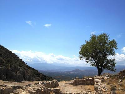 Photograph - Lovely Tree And Mountain Range Valley View From The Ancient Hilltop In Mycenae Greece by John Shiron
