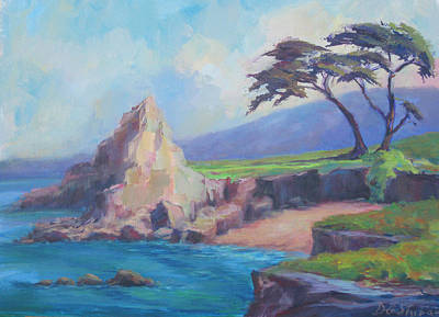 Cypress Trees Painting - Lovers' Point In Monterey Ca by Deirdre Shibano