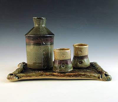 Sake Bottle Ceramic Art - Lover's Set Number Six by Alejandro Sanchez