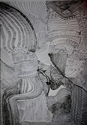 Drawing - Loves Perusal by Gloria Ssali