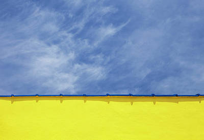 Part Of Photograph - Low Angle Close Up View Of A Wall And Sky by Sean Russell