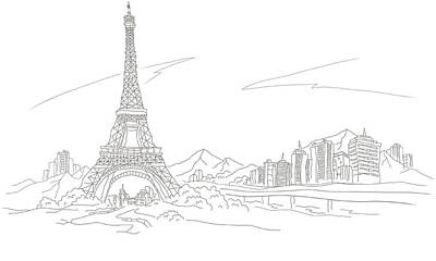 Mountains Digital Art - Low Angle View Of A Tower, Eiffel Tower, Paris, France by Eastnine Inc.