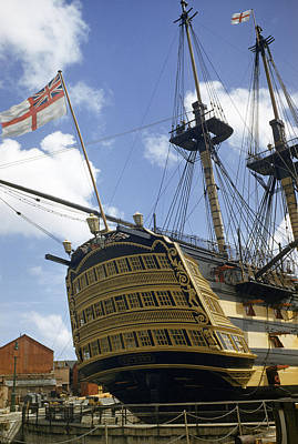 Hms Victory Photograph - Low Angle View Of The Stern Of Hms by B. Anthony Stewart