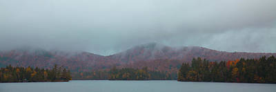Long Leaf Pine Tree Photograph - Low Clouds Over Blue Mountain Lake by David Patterson