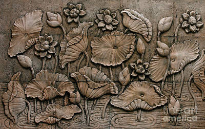 Low Relief Cement Thai Style  Art Print by Phalakon Jaisangat
