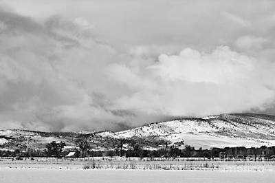 Low Winter Storm Clouds Colorado Rocky Mountain Foothills Bw Art Print by James BO  Insogna