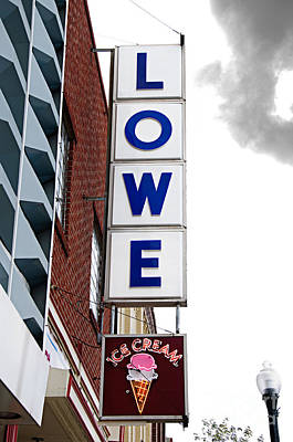 Ice Cream Photograph - Lowe Drug Store Sign Color by Andee Design
