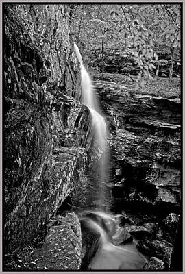 Southern Illinois Photograph - Lower Burden Falls In B  W by Donna Caplinger
