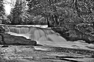 Balck And White Photograph - Lower Tahquamenon Falls 6140b by Michael Peychich