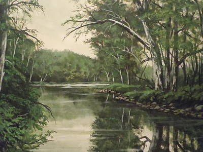 Art Print featuring the painting Loyahanna Creek by James Guentner