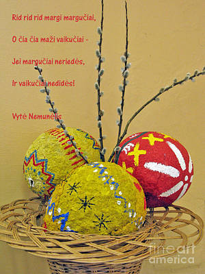 Winter Animals Rights Managed Images - LT Easter Greeting. Lithuanian text 01 Royalty-Free Image by Ausra Huntington nee Paulauskaite