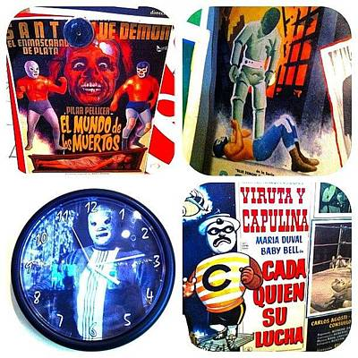 Wrestling Wall Art - Photograph - #lucha #diptic #vintage #posters #movie by T C