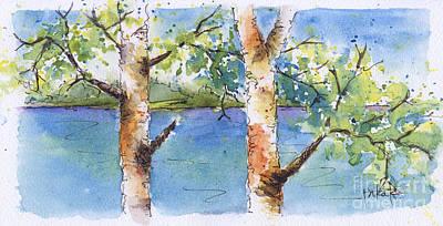 Painting - Lucien Poplars by Pat Katz