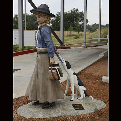 Lucille Mulhall Sculpture - Lucille Mulhall  America First Cowgirl  And Walle   Shelter Rescue by Faducci- Solomon Bassoff Domenica Mottarella