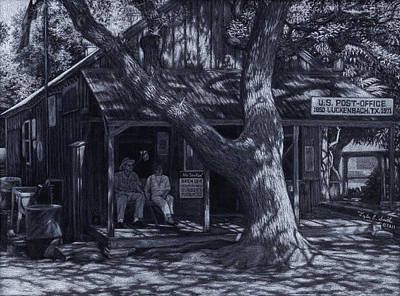 Ghost Towns Drawing - Luckenbach Texas by Tyler Smith