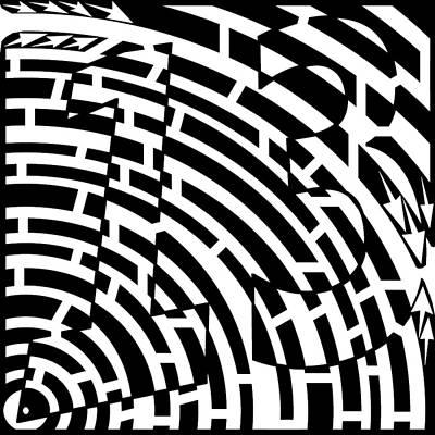 Yonatan Drawing - Lucky Number 13 Maze by Yonatan Frimer Maze Artist