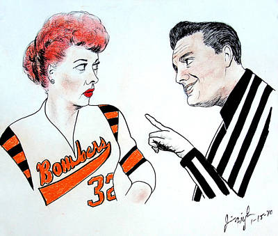 Drawing - Lucy And Ricky At The Roller Derby by Jim Fitzpatrick
