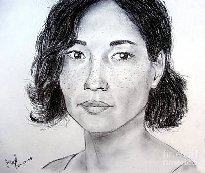 Drawing - Lucy Liu Portrait by Jim Fitzpatrick