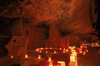 Luminarias Light Up The Anasazi Spruce Art Print
