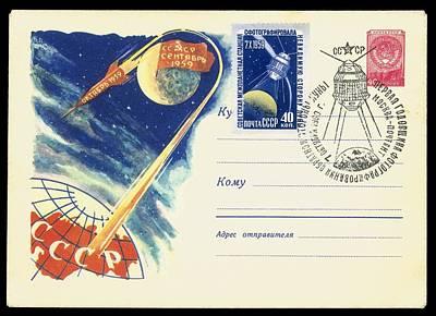 3 October Photograph - Luna 3, Soviet Postcard by Detlev Van Ravenswaay