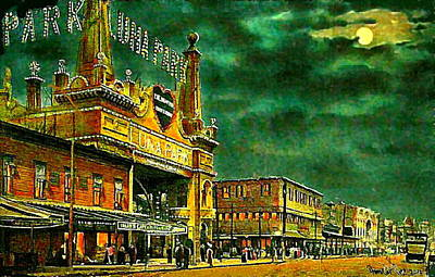 Painting - Luna Park Entrance At Night Along Surf Avenue In Coney Island Brooklyn N Y 1908 by Dwight Goss